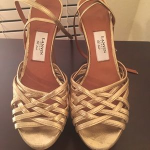 Lanvin gold wedge sandals